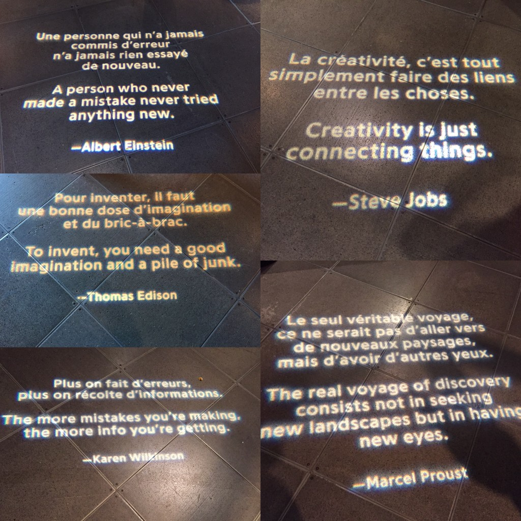 Quotes on the floor of Fabrik at the Montréal Science Centre.