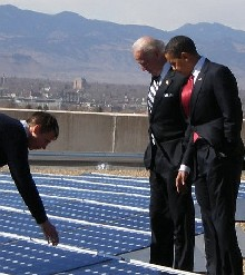 President Barack Obama and Vice President Joe Biden tour the Denver Museum of Nature and Sciences solar photovoltaic system.