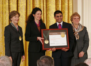 Nancy Stueber and community member Priyam Shah accept award from First Lady Laura Bush and IMLS Director Anne-Imelda Radice