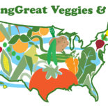 Drawing of US map decorated with fruits and vegetables.