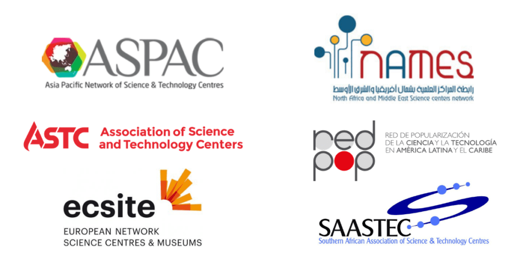 Logos of international science center networks: ASPAC, ASTC, Ecsite, NAMES, RedPOP, SAASTEC