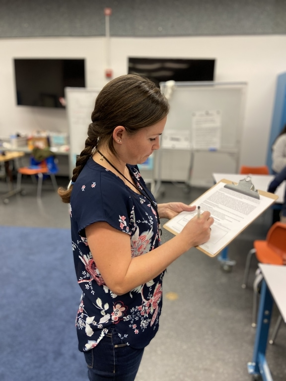 Teacher completing a Look-for