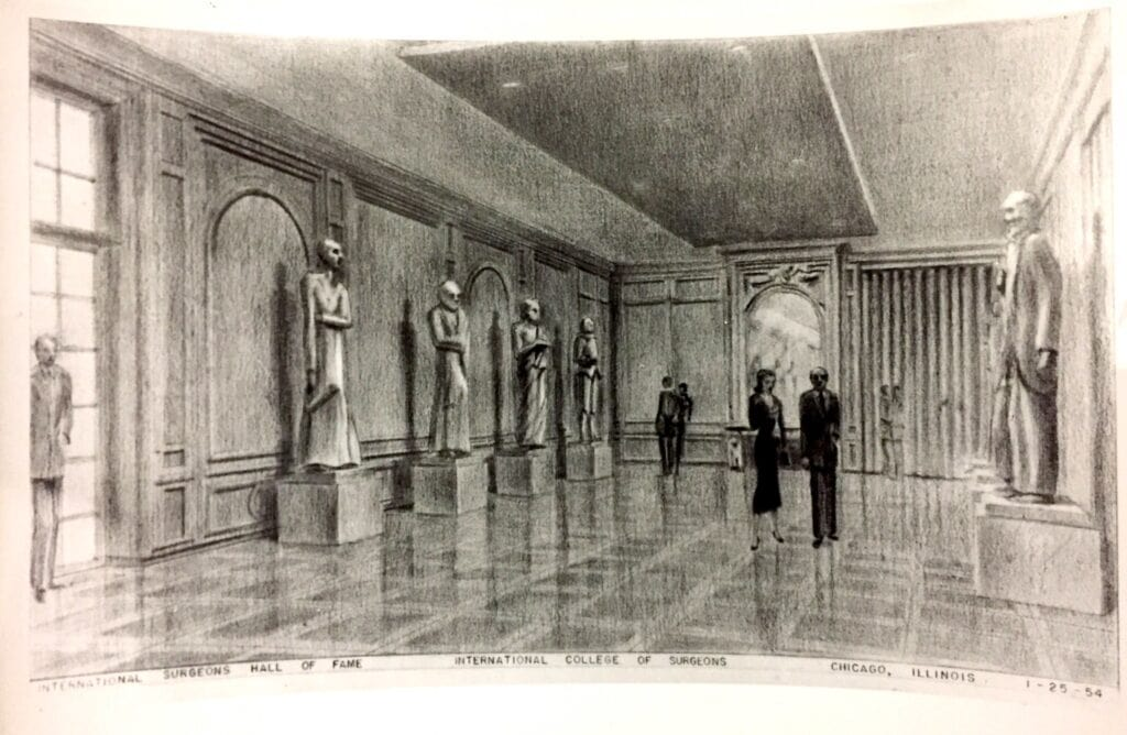 Sketch of a museum's exhibit hall featuring statues.